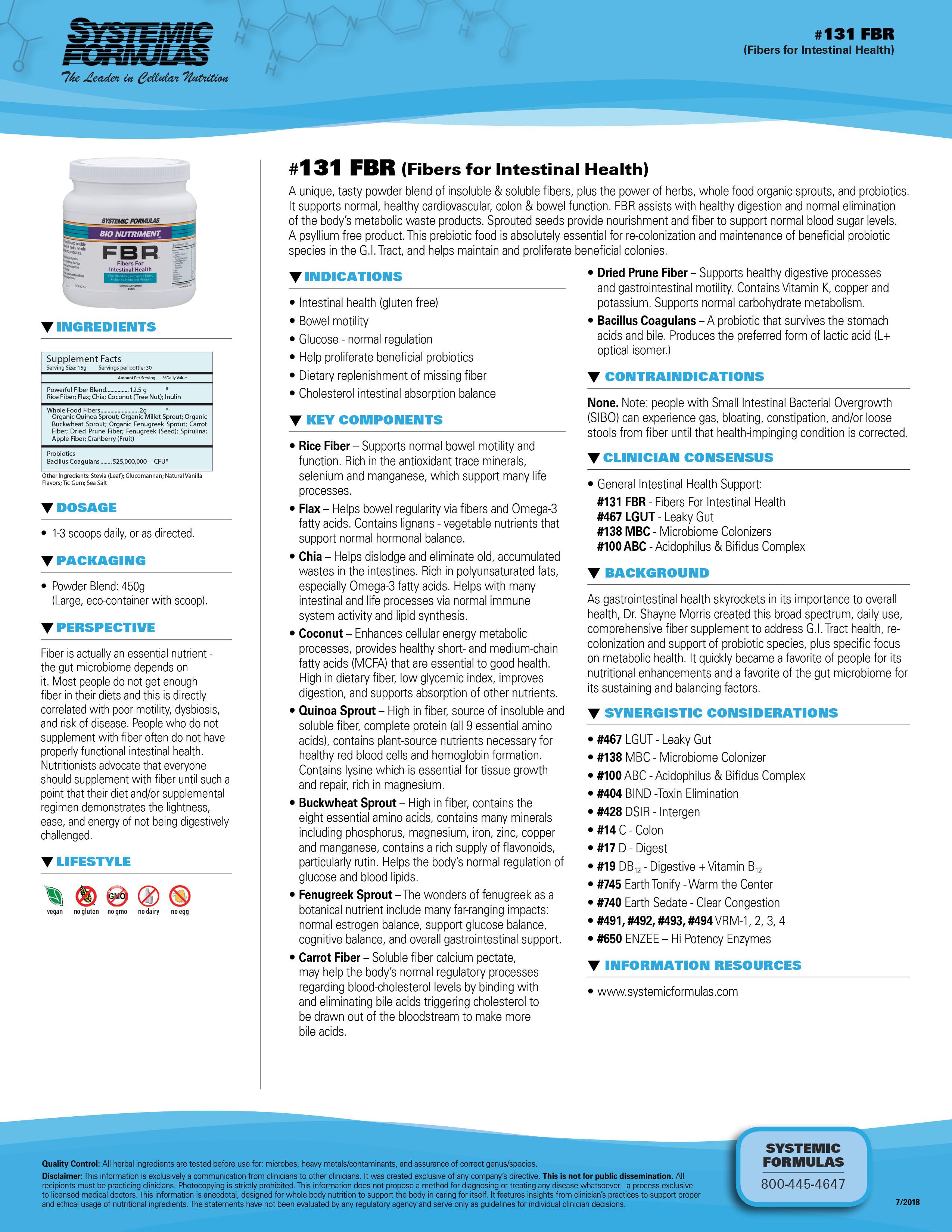 #131 FBR (Fibers for Intestinal Health)