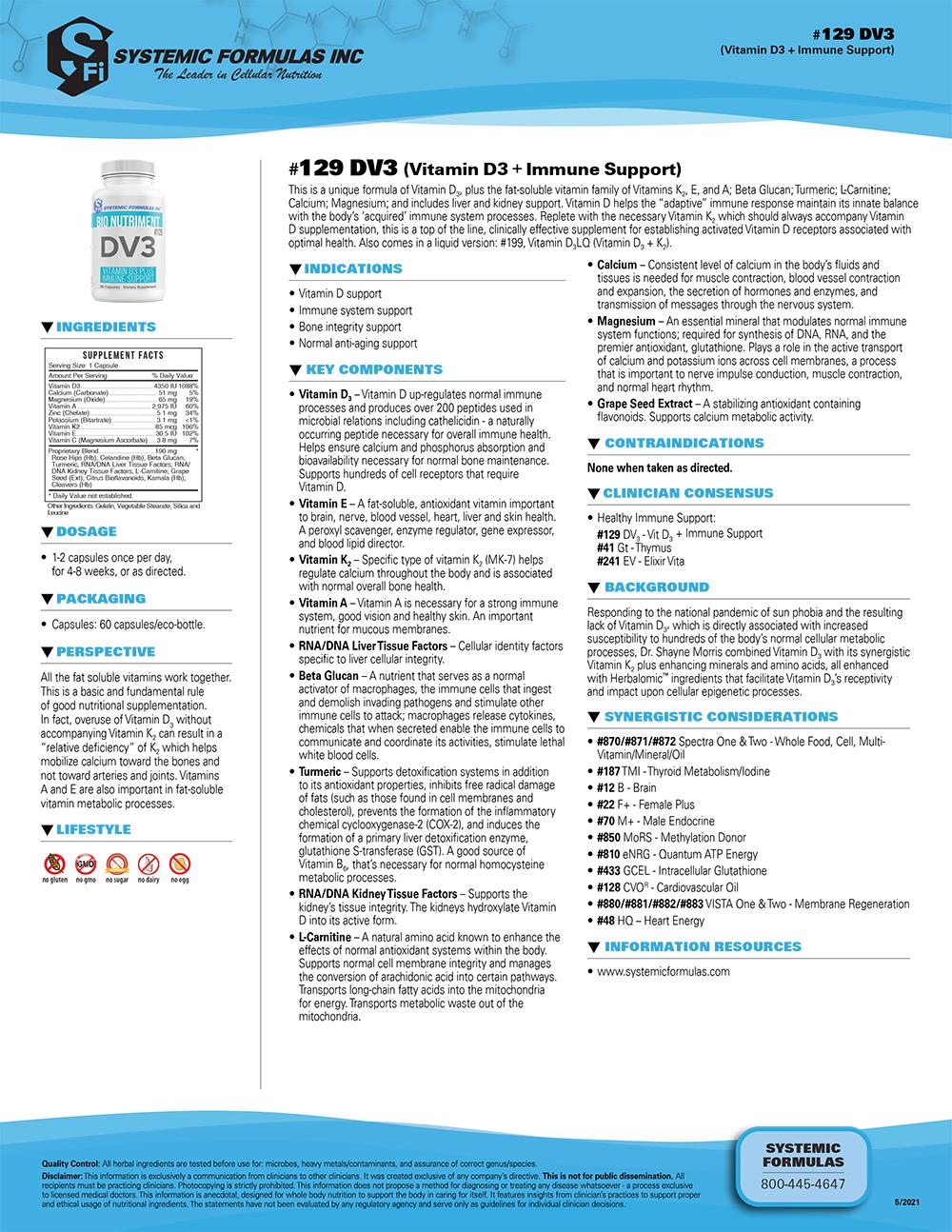 #129 DV3 (Vitamin D3 + Immune Support)